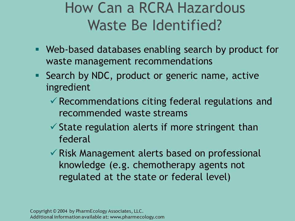 How Can a RCRA Hazardous Waste Be Identified.