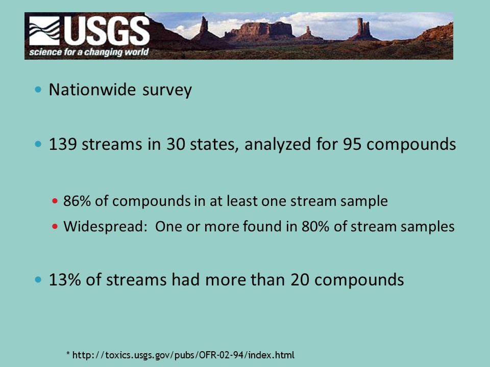 Nationwide survey 139 streams in 30 states, analyzed for 95 compounds 86% of compounds in at least one stream sample Widespread: One or more found in 80% of stream samples 13% of streams had more than 20 compounds * http://toxics.usgs.gov/pubs/OFR-02-94/index.html