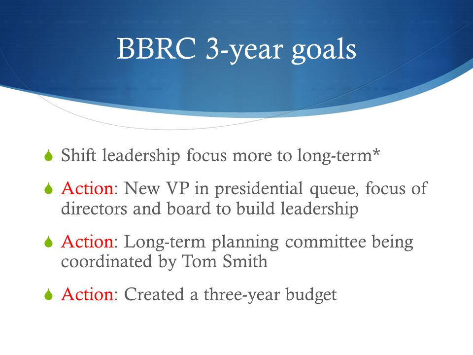 BBRC 3-year goals  Shift leadership focus more to long-term*  Action: New VP in presidential queue, focus of directors and board to build leadership  Action: Long-term planning committee being coordinated by Tom Smith  Action: Created a three-year budget