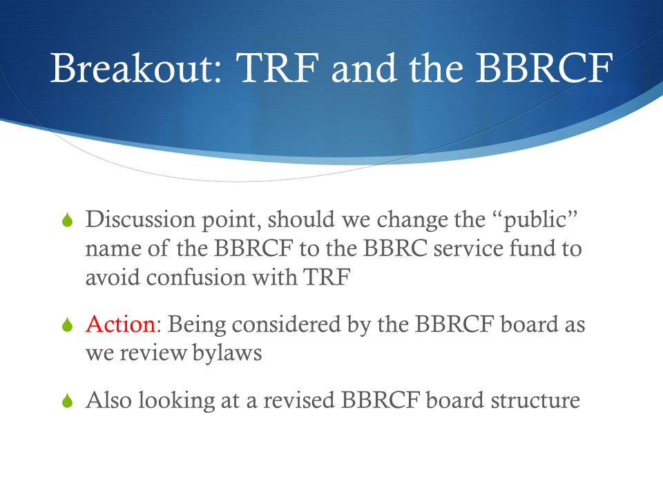 BBRC 3-year goals * means member suggested  100% to TRF annual fund*  Action: Emphasizing monthly  Support education*  Action: New Generations board position, all the youth programs including dictionaries, scholarships, Antigua, RYLA, Rotaract, Interact and all the rest