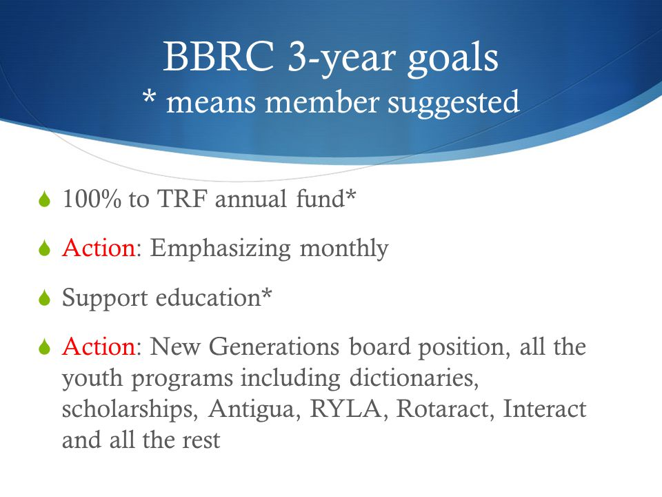 BBRC 3-year goals * means member suggested  100% to TRF annual fund*  Action: Emphasizing monthly  Support education*  Action: New Generations board position, all the youth programs including dictionaries, scholarships, Antigua, RYLA, Rotaract, Interact and all the rest