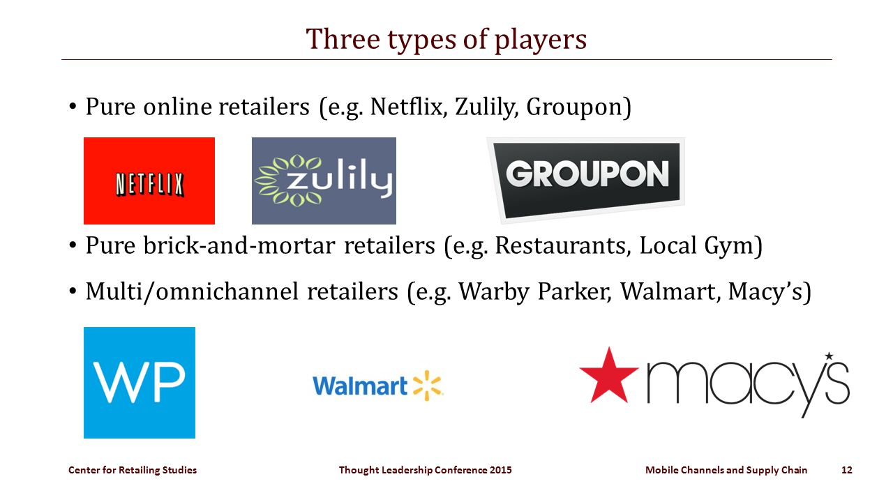 Center for Retailing Studies Thought Leadership Conference 2015 Mobile Channels and Supply Chain 12 Three types of players Pure online retailers (e.g.