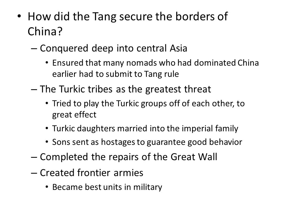 How did the Tang secure the borders of China.