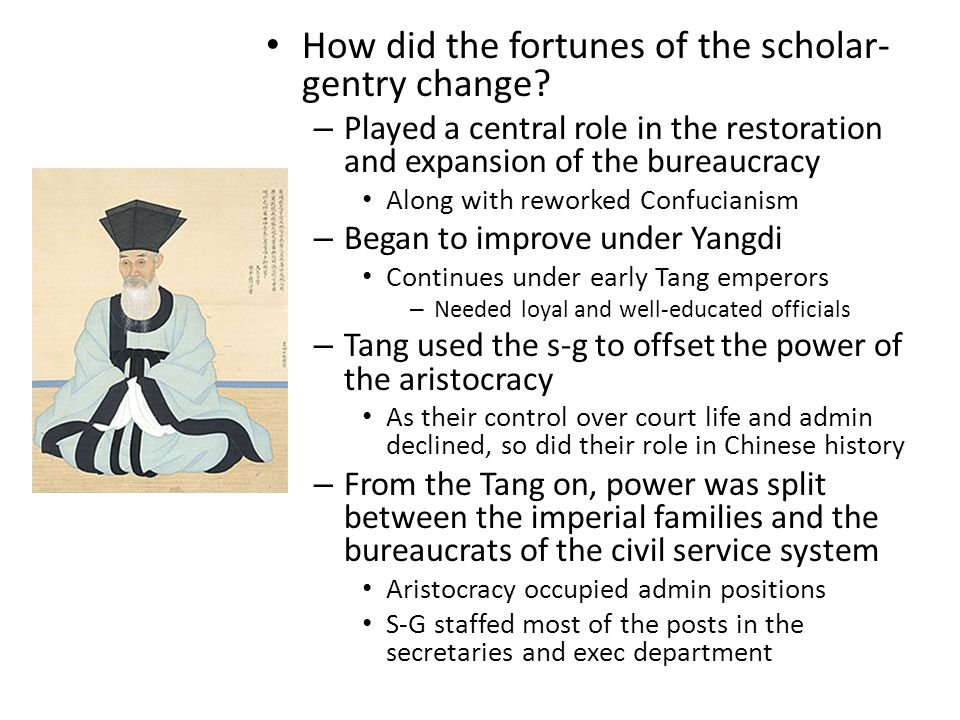 How did the fortunes of the scholar- gentry change.