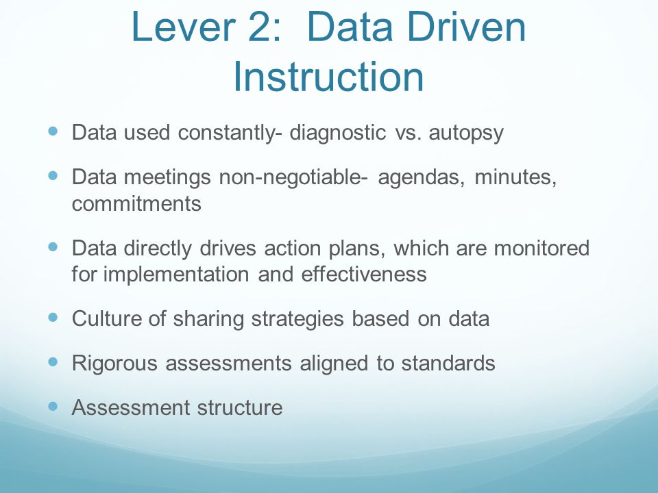 Lever 2: Data Driven Instruction Data used constantly- diagnostic vs.