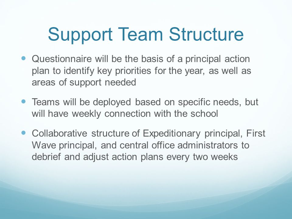 Support Team Structure Questionnaire will be the basis of a principal action plan to identify key priorities for the year, as well as areas of support needed Teams will be deployed based on specific needs, but will have weekly connection with the school Collaborative structure of Expeditionary principal, First Wave principal, and central office administrators to debrief and adjust action plans every two weeks