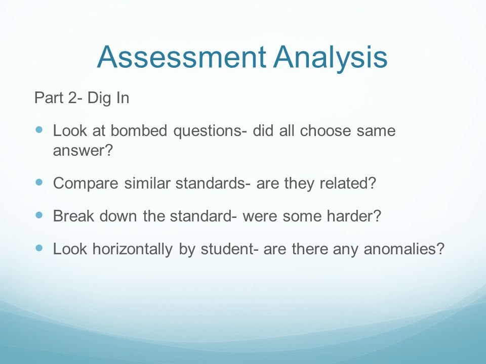 Assessment Analysis Part 2- Dig In Look at bombed questions- did all choose same answer.