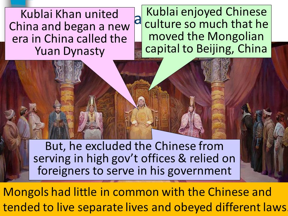 Kublai Khan Kublai Khan united China and began a new era in China called the Yuan Dynasty Kublai enjoyed Chinese culture so much that he moved the Mon