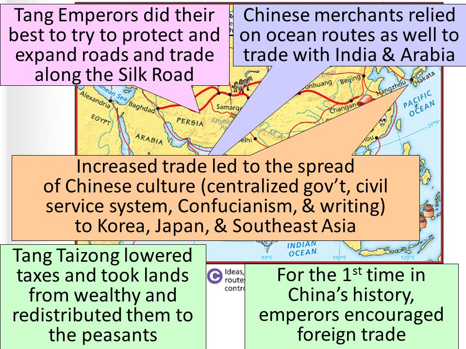 The Golden Age of Post-Classical China ■ Text For the 1 st time in China's history, emperors encouraged foreign trade Tang Emperors did their best to try to protect and expand roads and trade along the Silk Road Chinese merchants relied on ocean routes as well to trade with India & Arabia Increased trade led to the spread of Chinese culture (centralized gov't, civil service system, Confucianism, & writing) to Korea, Japan, & Southeast Asia Tang Taizong lowered taxes and took lands from wealthy and redistributed them to the peasants