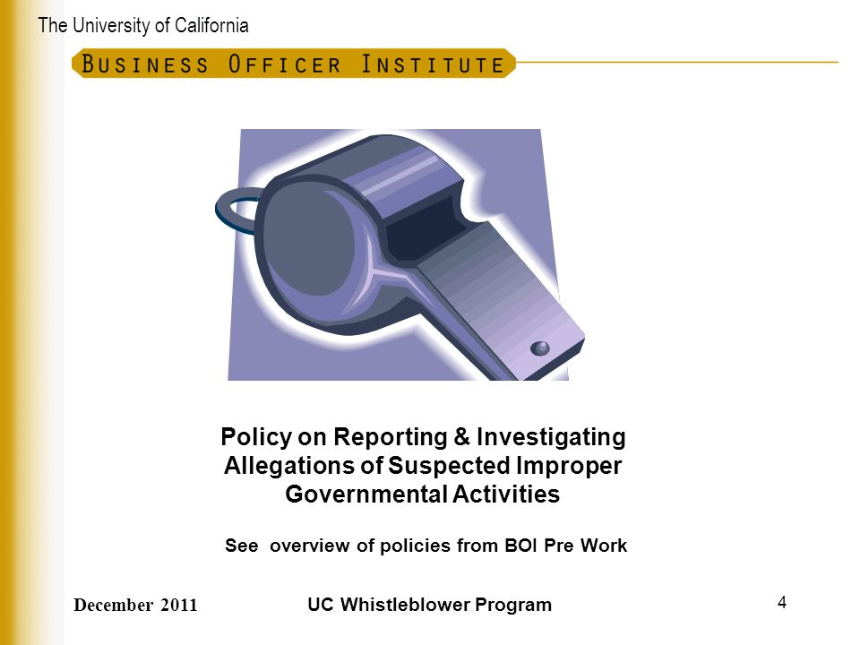 The University of California Guidance  Allegations – not just findings – are reportable.