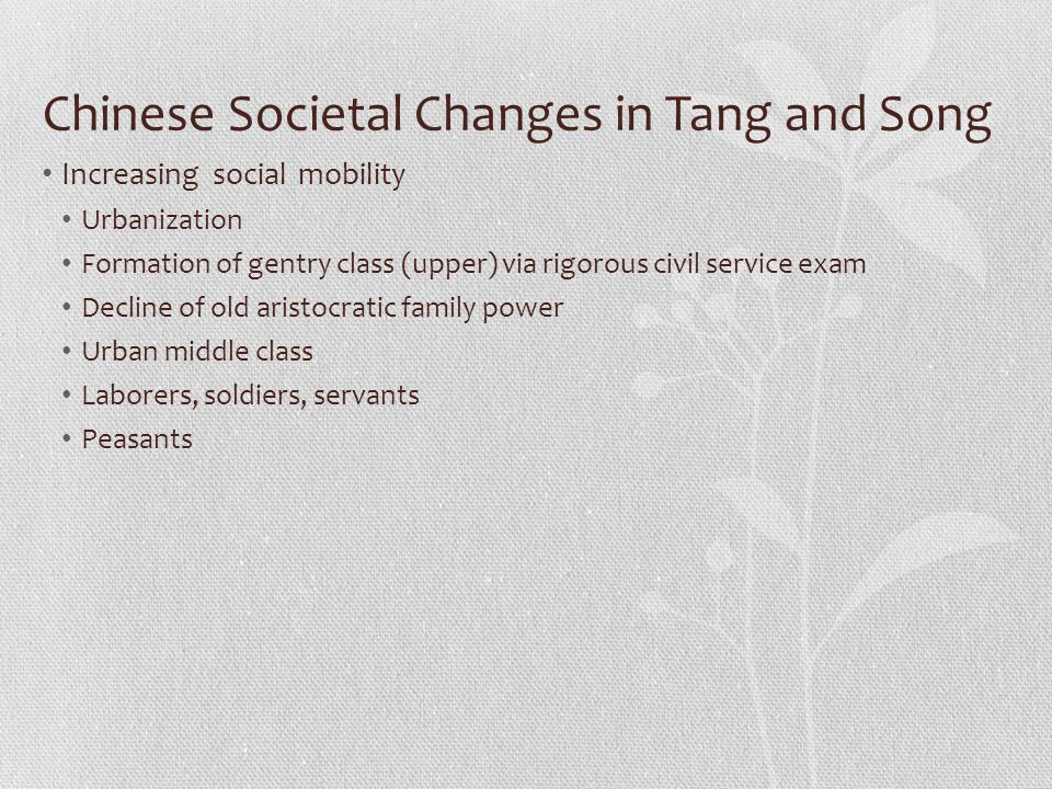 Chinese Societal Changes in Tang and Song Increasing social mobility Urbanization Formation of gentry class (upper) via rigorous civil service exam De