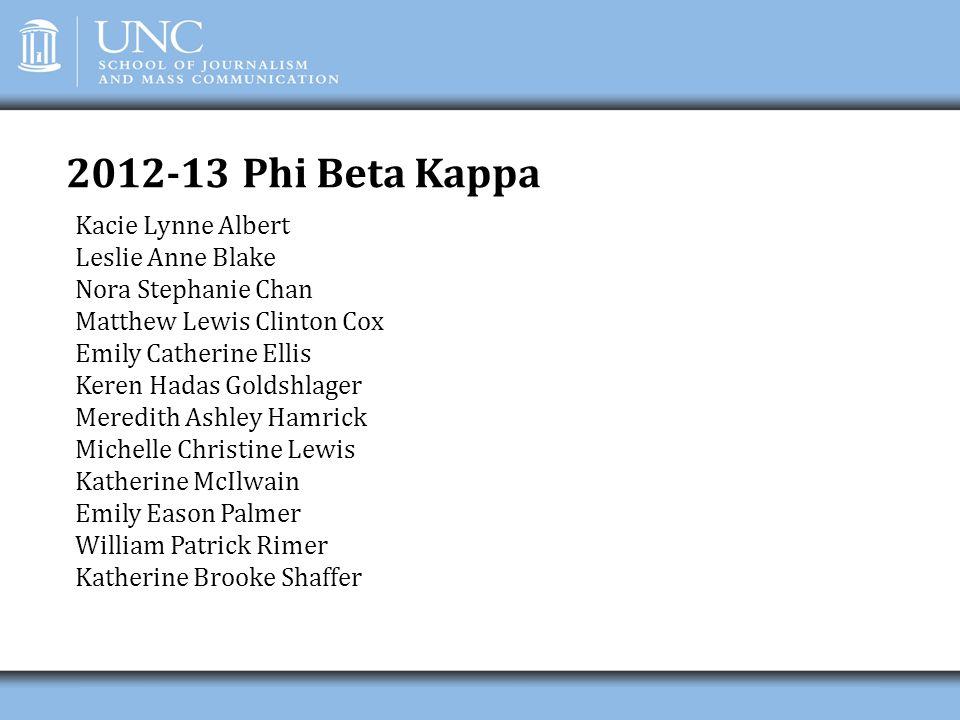 2012-13 Phi Beta Kappa Kacie Lynne Albert Leslie Anne Blake Nora Stephanie Chan Matthew Lewis Clinton Cox Emily Catherine Ellis Keren Hadas Goldshlage