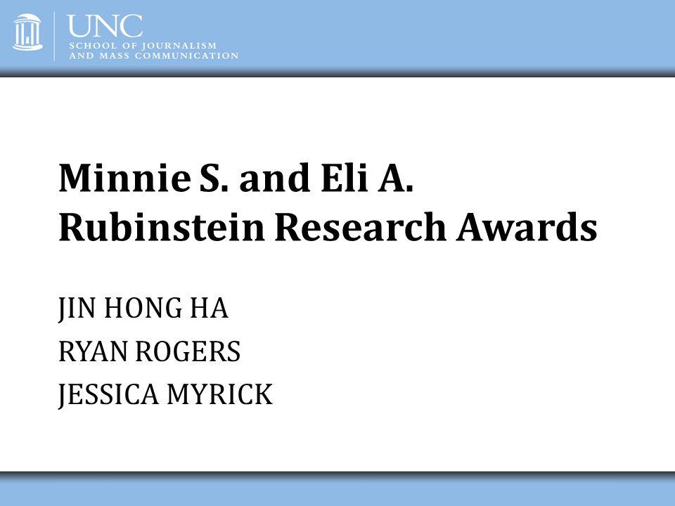 Minnie S. and Eli A. Rubinstein Research Awards JIN HONG HA RYAN ROGERS JESSICA MYRICK