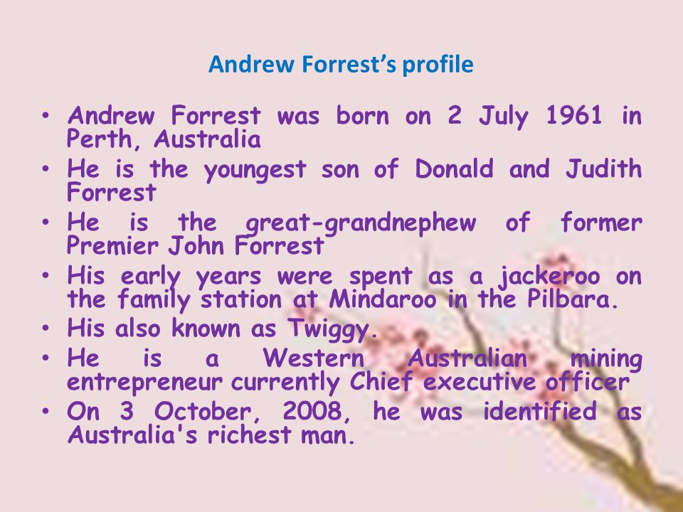 Andrew Forrest's education He graduated from Hale School in Perth After university embarked on a career in stockbroking starting at broking house Jacksons.