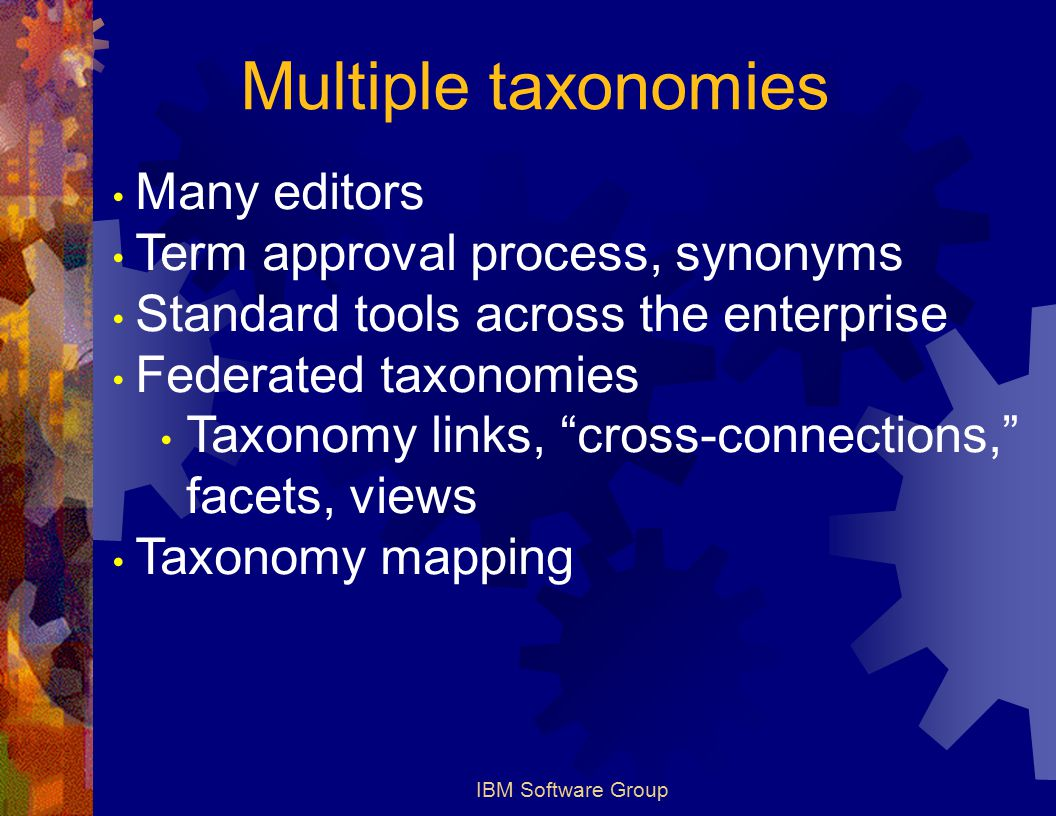 IBM Software Group Multiple taxonomies Many editors Term approval process, synonyms Standard tools across the enterprise Federated taxonomies Taxonomy