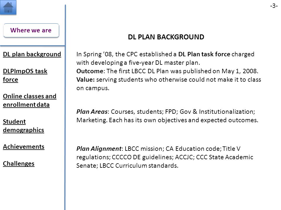 DL PLAN BACKGROUND Plan Alignment: LBCC mission; CA Education code; Title V regulations; CCCCO DE guidelines; ACCJC; CCC State Academic Senate; LBCC Curriculum standards.