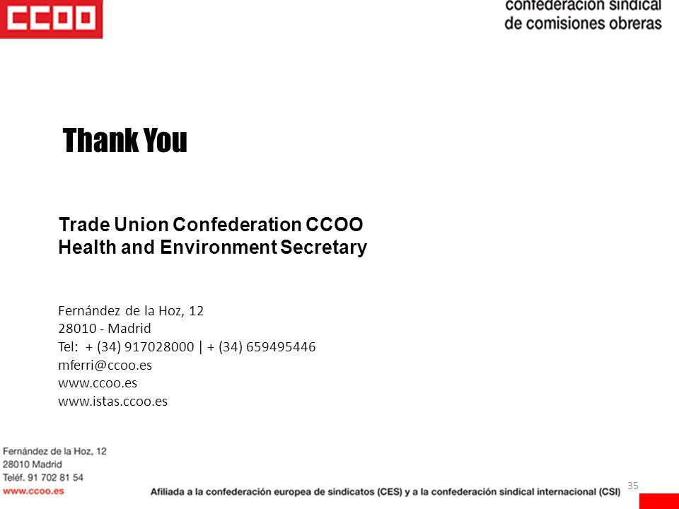 35 Thank You Trade Union Confederation CCOO Health and Environment Secretary Fernández de la Hoz, 12 28010 - Madrid Tel: + (34) 917028000 | + (34) 659495446 mferri@ccoo.es www.ccoo.es www.istas.ccoo.es
