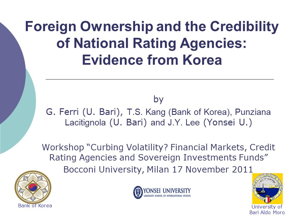 Foreign Ownership and the Credibility of National Rating Agencies: Evidence from Korea University of Bari Aldo Moro by G.
