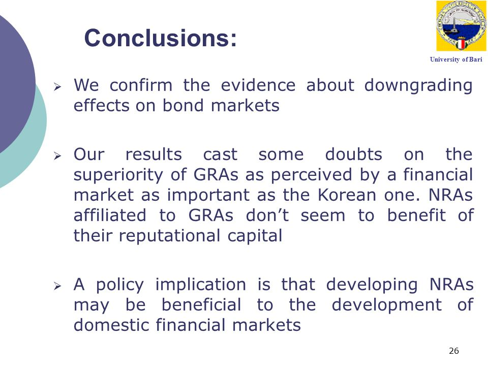 26 University of Bari Conclusions:  We confirm the evidence about downgrading effects on bond markets  Our results cast some doubts on the superiori