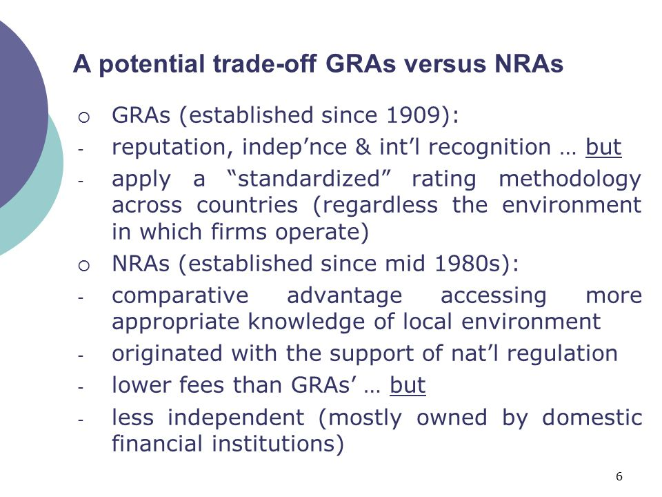 """6 A potential trade-off GRAs versus NRAs  GRAs (established since 1909): - reputation, indep'nce & int'l recognition … but - apply a """"standardized"""" r"""
