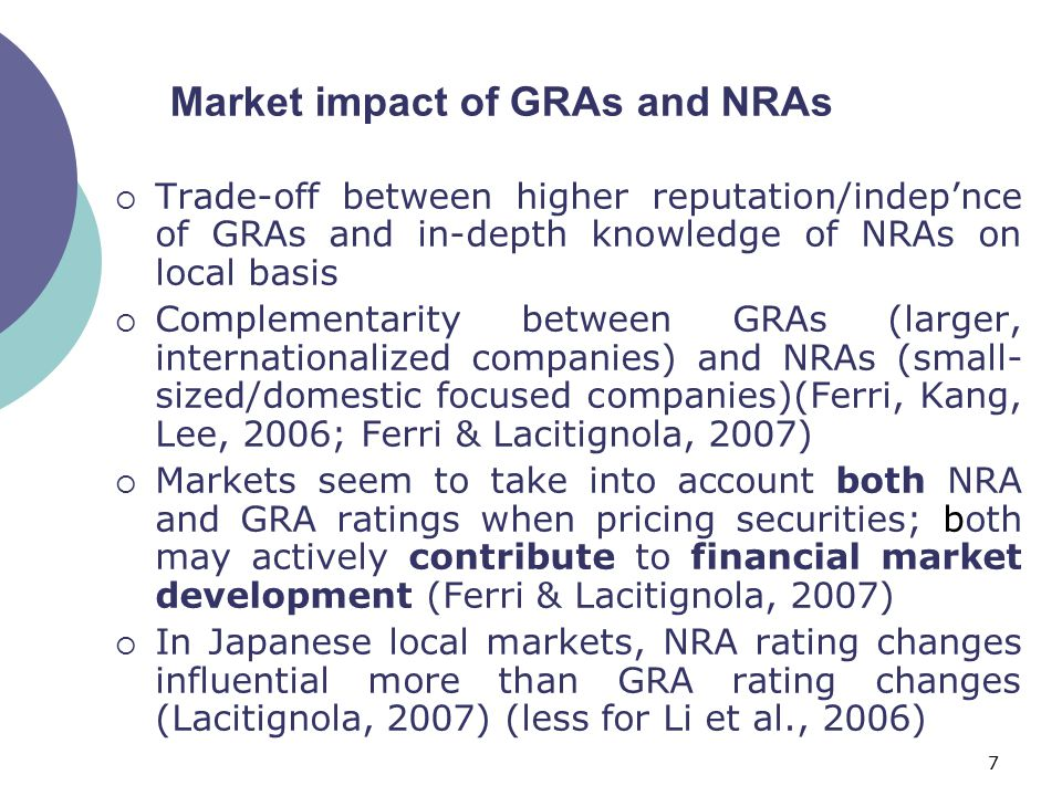 7  Trade-off between higher reputation/indep'nce of GRAs and in-depth knowledge of NRAs on local basis  Complementarity between GRAs (larger, internationalized companies) and NRAs (small- sized/domestic focused companies)(Ferri, Kang, Lee, 2006; Ferri & Lacitignola, 2007)  Markets seem to take into account both NRA and GRA ratings when pricing securities; both may actively contribute to financial market development (Ferri & Lacitignola, 2007)  In Japanese local markets, NRA rating changes influential more than GRA rating changes (Lacitignola, 2007) (less for Li et al., 2006) Market impact of GRAs and NRAs