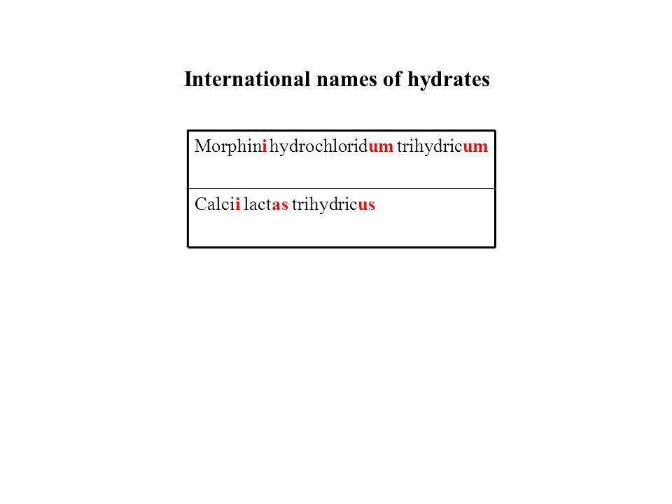 International names of hydrates Morphini hydrochloridum trihydricum Calcii lactas trihydricus