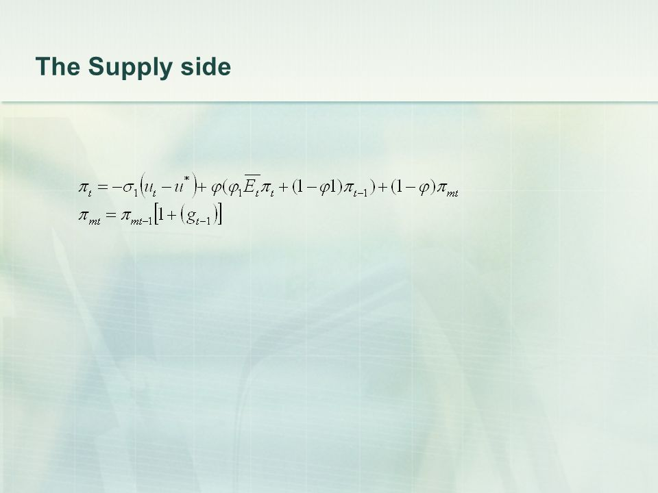 The Supply side