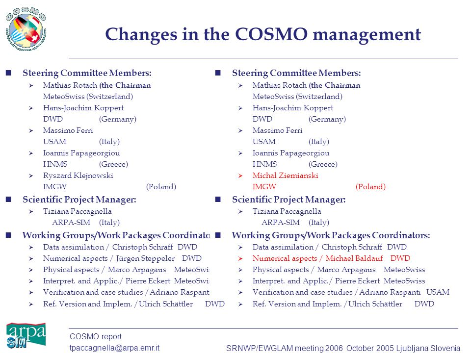 COSMO report tpaccagnella@arpa.emr.it SRNWP/EWGLAM meeting 2006 October 2005 Ljubljana Slovenia Changes in the COSMO management Steering Committee Mem