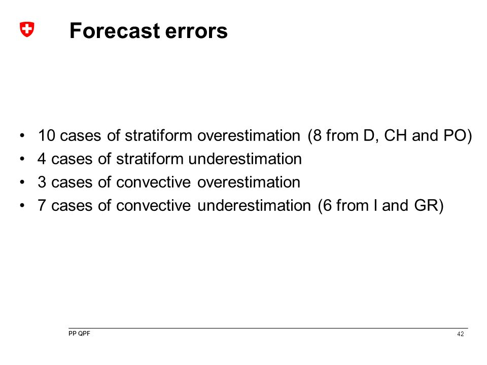 42 PP QPF Forecast errors 10 cases of stratiform overestimation (8 from D, CH and PO) 4 cases of stratiform underestimation 3 cases of convective over
