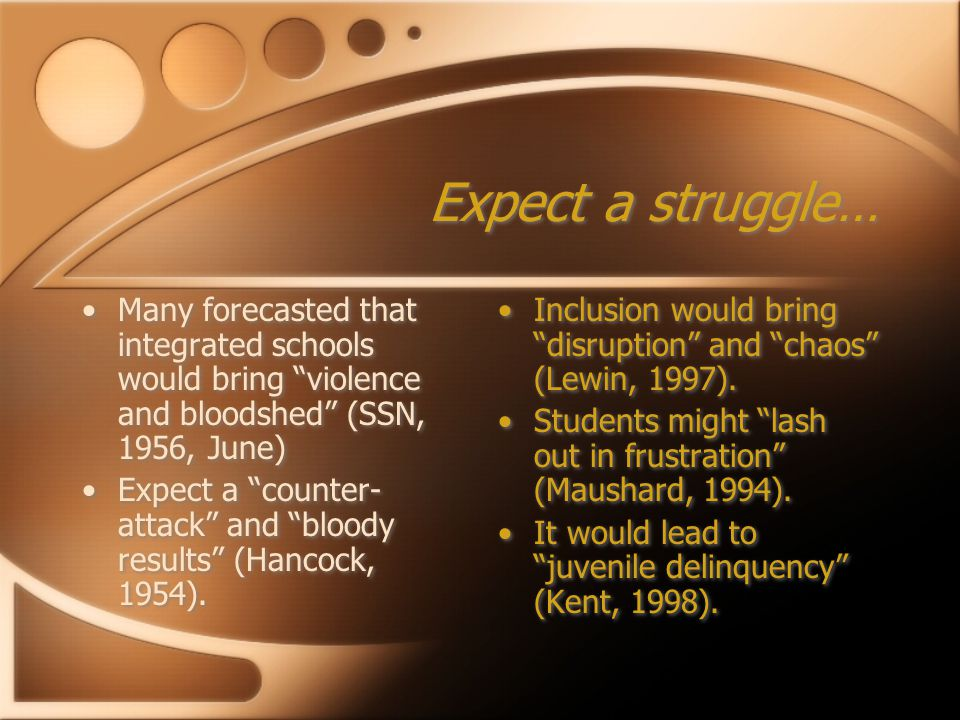 Expect a struggle… Many forecasted that integrated schools would bring violence and bloodshed (SSN, 1956, June) Expect a counter- attack and bloody results (Hancock, 1954).