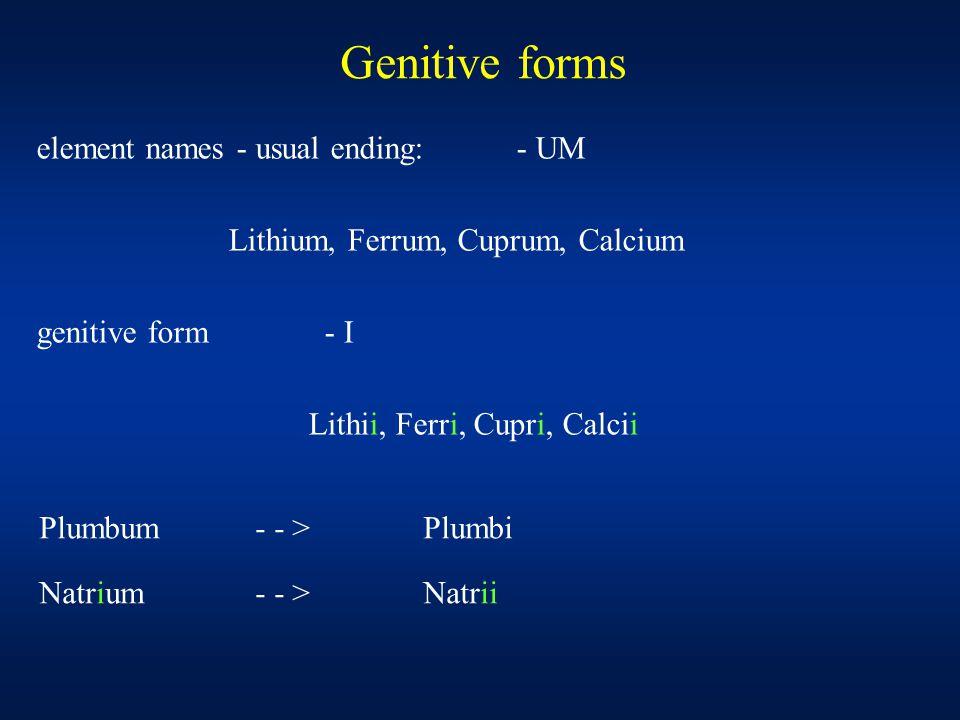 Genitive forms Plumbum - - > Plumbi Natrium - - >Natrii element names - usual ending:- UM Lithium, Ferrum, Cuprum, Calcium genitive form- I Lithii, Ferri, Cupri, Calcii