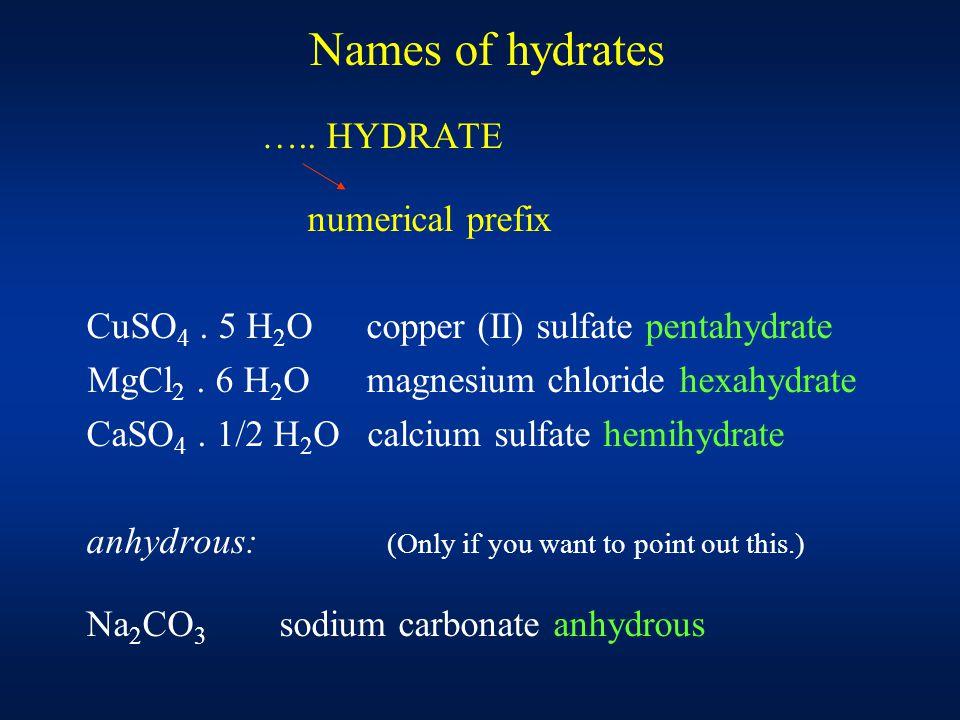 Names of hydrates ….. HYDRATE numerical prefix CuSO 4.