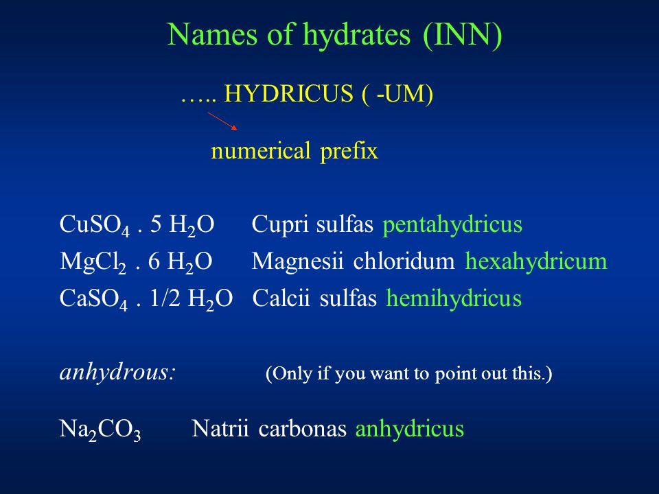 Names of hydrates (INN) ….. HYDRICUS ( -UM) numerical prefix CuSO 4.