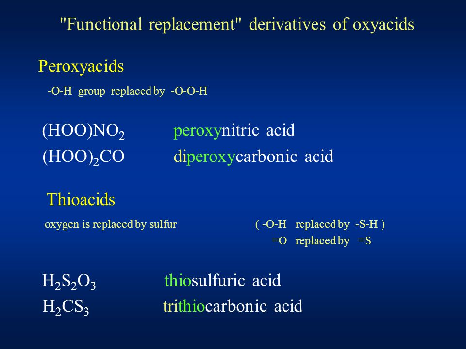 Functional replacement derivatives of oxyacids Peroxyacids -O-H group replaced by -O-O-H (HOO)NO 2 peroxynitric acid (HOO) 2 CO diperoxycarbonic acid Thioacids oxygen is replaced by sulfur ( -O-H replaced by -S-H ) =O replaced by =S H 2 S 2 O 3 thiosulfuric acid H 2 CS 3 trithiocarbonic acid
