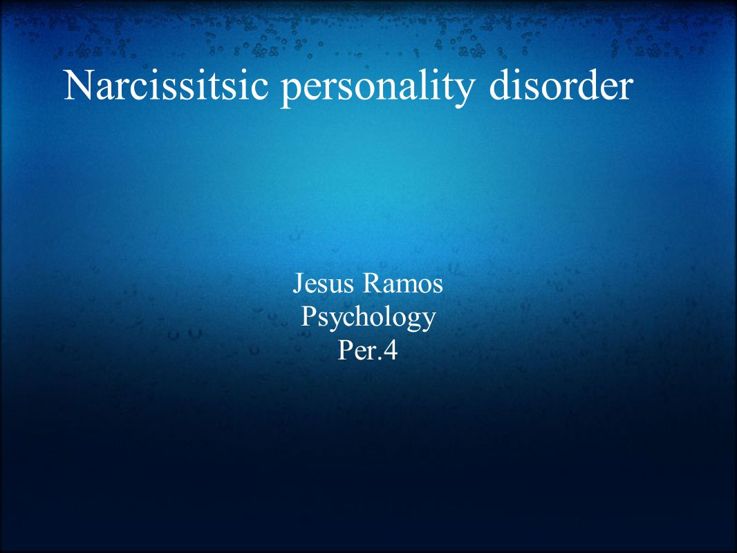 Narcissistic personality disorder Narcissistic personality disorder is a condition in which people have an inflated sense of self-importance and an extreme preoccupation with themselves.
