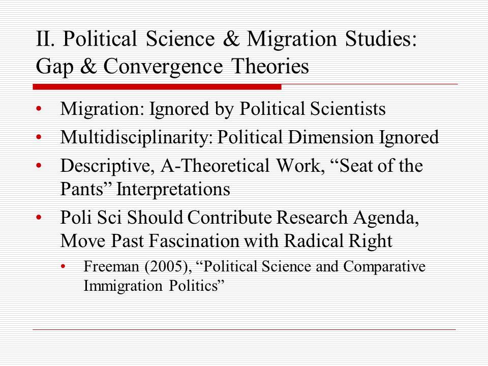 II. Political Science & Migration Studies: Gap & Convergence Theories Migration: Ignored by Political Scientists Multidisciplinarity: Political Dimens