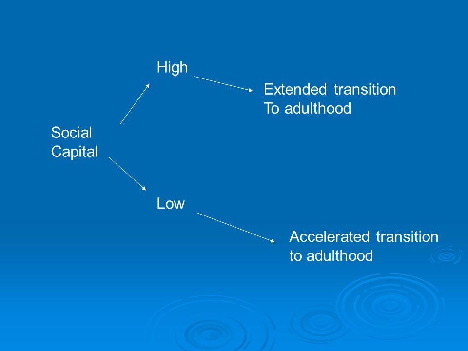 Social Capital High Low Extended transition To adulthood Accelerated transition to adulthood