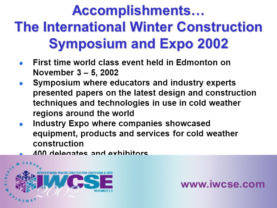 First time world class event held in Edmonton on November 3 – 5, 2002 Symposium where educators and industry experts presented papers on the latest de