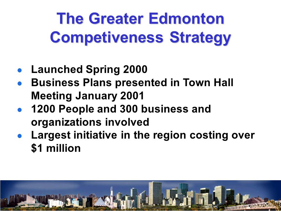 Launched Spring 2000 Business Plans presented in Town Hall Meeting January 2001 1200 People and 300 business and organizations involved Largest initia
