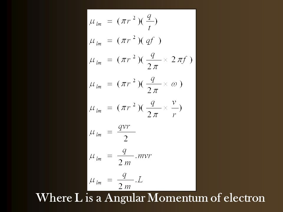 Where L is a Angular Momentum of electron