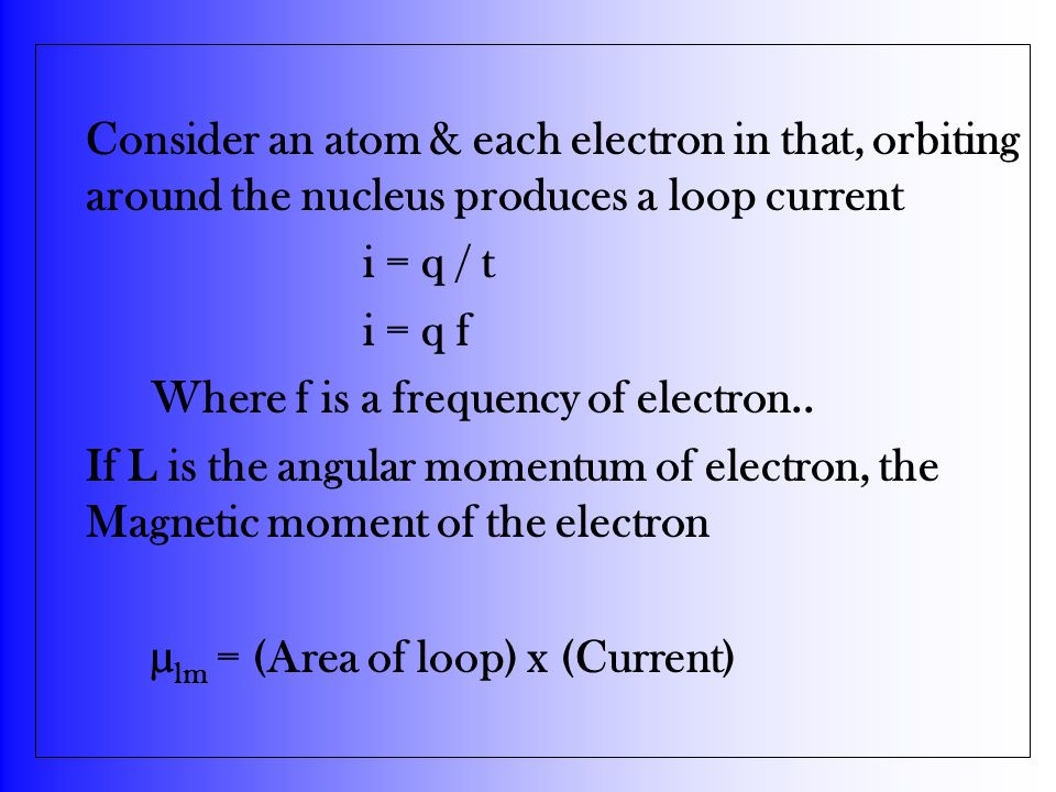 Consider an atom & each electron in that, orbiting around the nucleus produces a loop current i = q / t i = q f Where f is a frequency of electron.. I