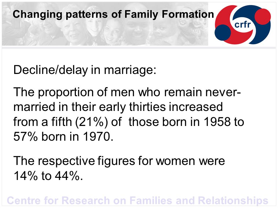 Centre for Research on Families and Relationships Changing patterns of Family Formation Decline/delay in marriage: The proportion of men who remain never- married in their early thirties increased from a fifth (21%) of those born in 1958 to 57% born in 1970.