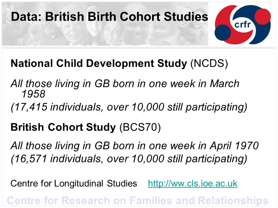 Data: British Birth Cohort Studies National Child Development Study (NCDS) All those living in GB born in one week in March 1958 (17,415 individuals,