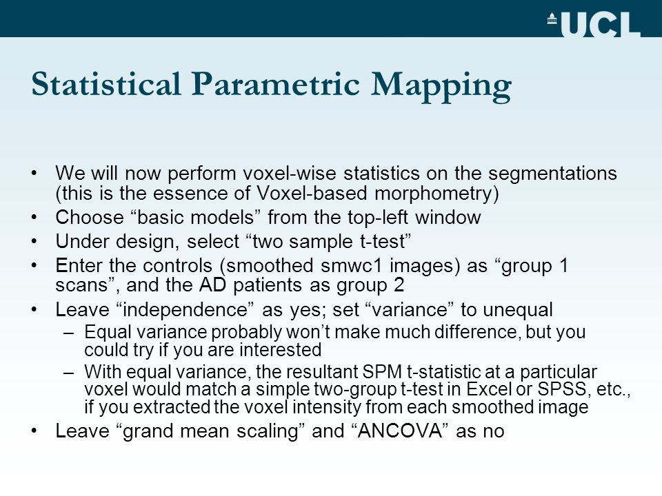 Statistical Parametric Mapping We will now perform voxel-wise statistics on the segmentations (this is the essence of Voxel-based morphometry) Choose