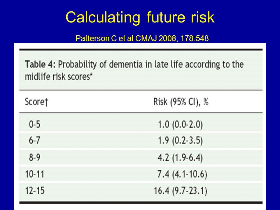 Calculating future risk Patterson C et al CMAJ 2008; 178:548