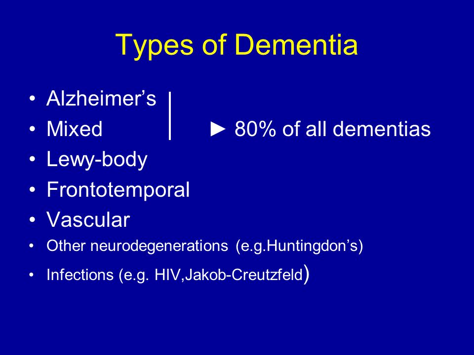 Types of Dementia Alzheimer's Mixed ► 80% of all dementias Lewy-body Frontotemporal Vascular Other neurodegenerations (e.g.Huntingdon's) Infections (e.g.