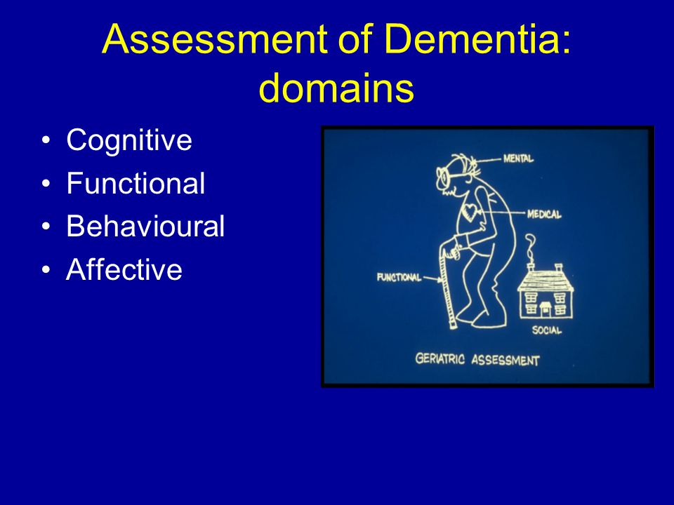Assessment of Dementia: domains Cognitive Functional Behavioural Affective
