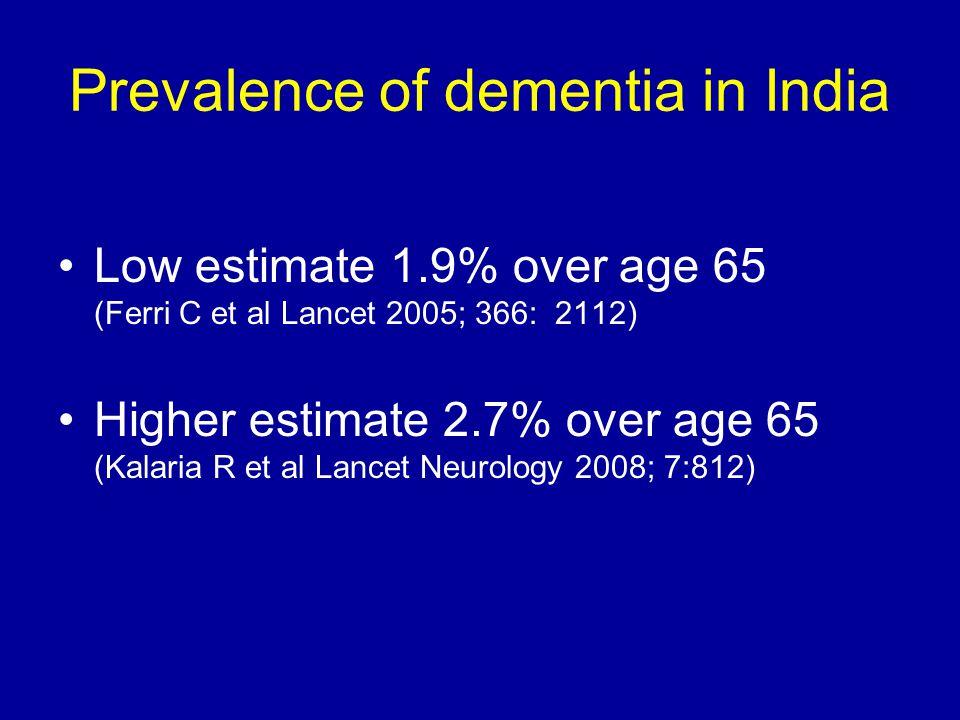 Prevalence of dementia in India Low estimate 1.9% over age 65 (Ferri C et al Lancet 2005; 366: 2112) Higher estimate 2.7% over age 65 (Kalaria R et al