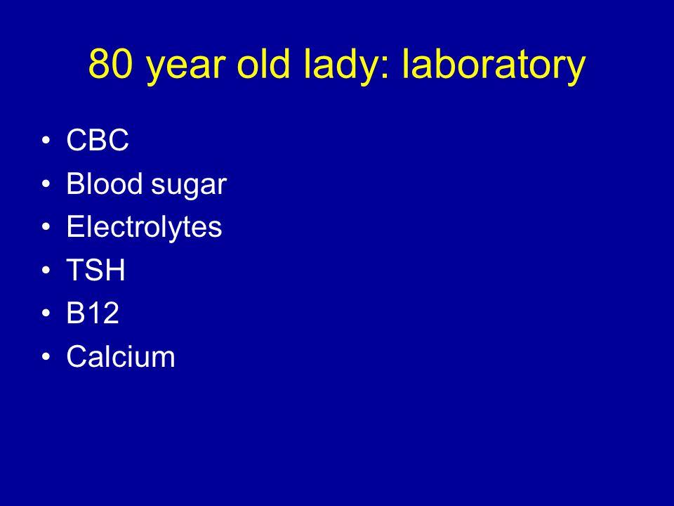 CBC Blood sugar Electrolytes TSH B12 Calcium