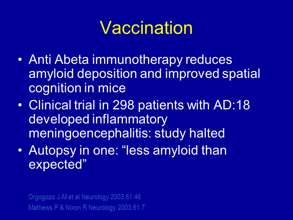 Vaccination Anti Abeta immunotherapy reduces amyloid deposition and improved spatial cognition in mice Clinical trial in 298 patients with AD:18 developed inflammatory meningoencephalitis: study halted Autopsy in one: less amyloid than expected Orgogozo J-M et al Neurology 2003;61:46 Mathews P & Nixon R Neurology 2003;61:7